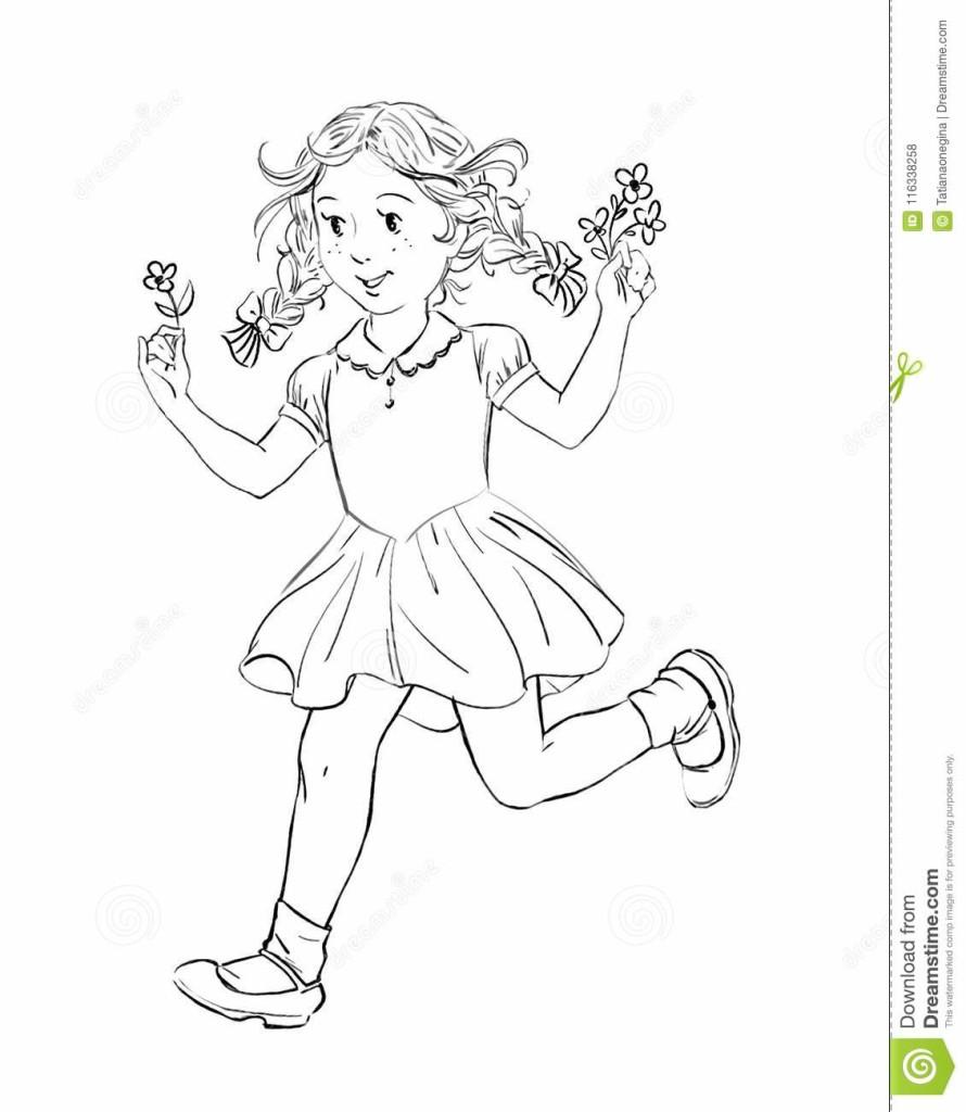 Czarny I Biały Rysunek Bieg Szczęśliwy Małej Dziewczynki Mienie Kwiaty 116338258
